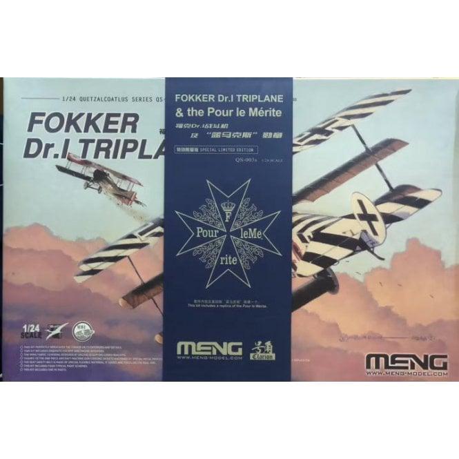 Meng Models 1:24 Fokker Dr.I Triplane & Blue Max Medal Model Kit