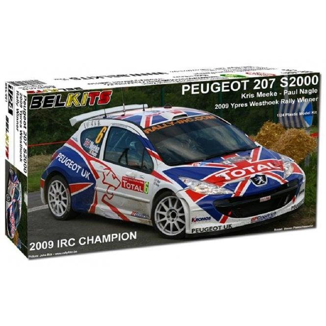 Belkits 1:24 Peugeot 207 S2000 2009 Ypres Westhoek Rally Winner Car Model Kit