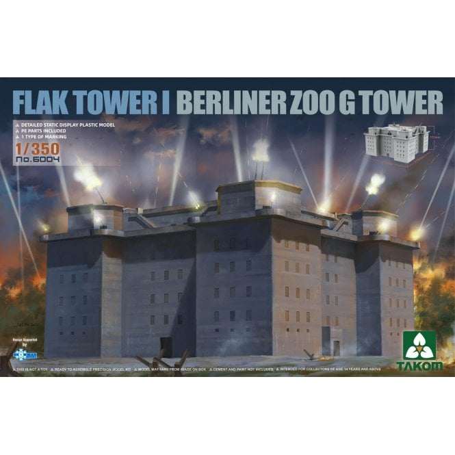Takom 1:350 FLAK TOWER I Berlin Zoo G Tower Model Ship Kit