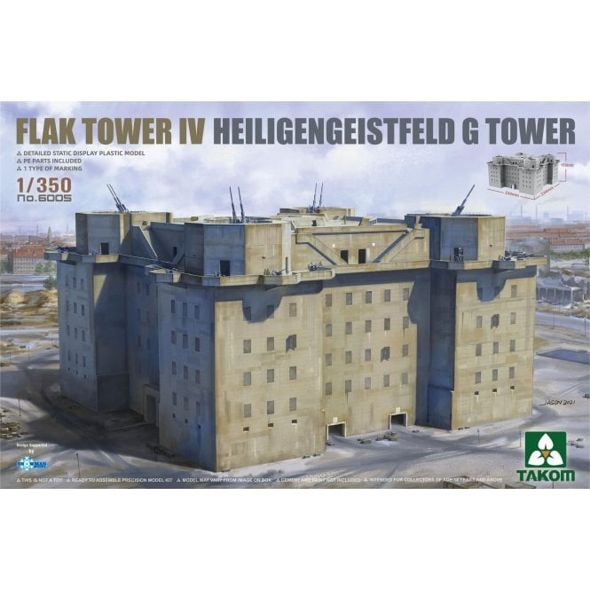 Takom 1:350 FLAK TOWER IV Heiligengeistfeld Hamburg G Tower Model Ship Kit