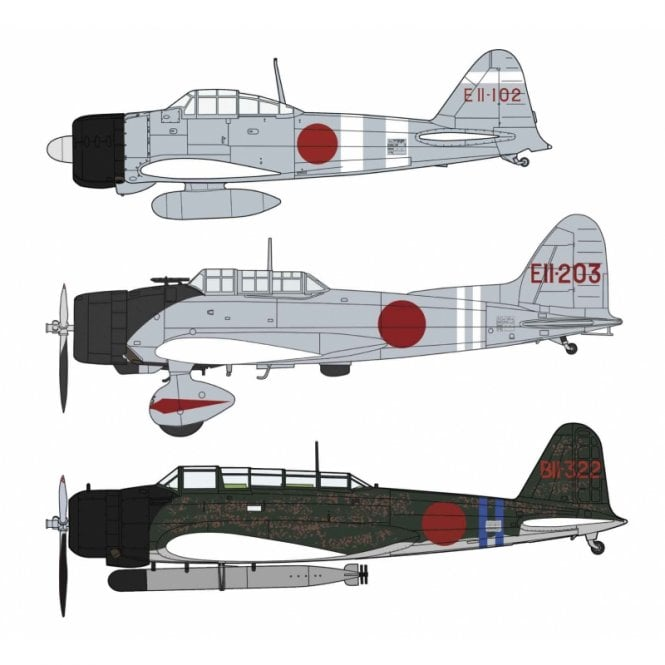 Hasegawa 1:48 3 Kit Set Zero Fighter Type 21 - 97 - 99  - Pearl Harbor Aircraft Model Kit