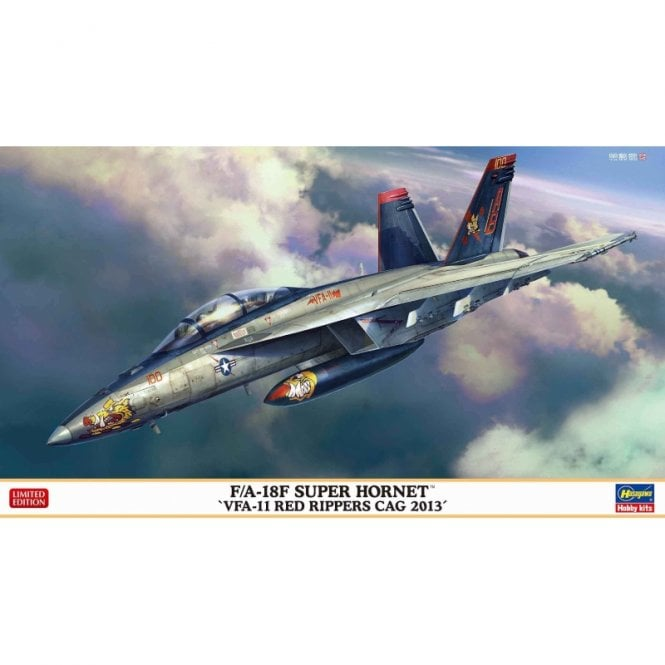 Hasegawa 1:72 F/A-18F Super Hornet Vfa-11 Red Rippers Cag 2013 Aircraft Model Kit