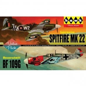 Linberg (HAWK) 1:72 Spitfire Mk.22 & Messerschmitt BF109G Aircraft Model Kit