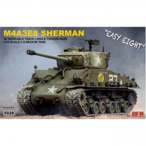 Rye Field Model 1:35 US Sherman M4A3E8 Workable tracks & torsion bars Military Model Kit