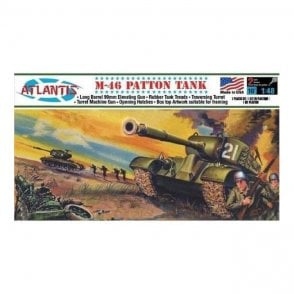 Atlantis Models 1:48 US M46 Patton Tank Military Model Kit