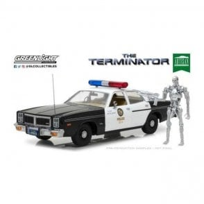 Greenlight 1:18 Artisan Collection - The Terminator 1984 - 1977 Dodge Monaco Metropolitan Police & T-800 Endoskeleton Figure Diecast Car