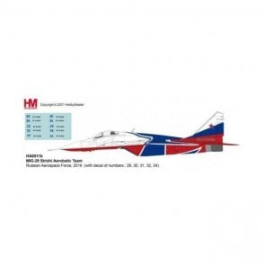 Hobby Master 1:72 MIG-29 Strizhi Aerobatic Team Russian Aerospace Force, 2019 (with decal of numbers : 29, 30, 31, 32, 34)