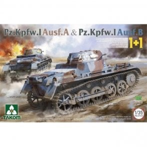 Takom 1:35 Pz.Kpfw. I Ausf. A & Pz.Kpfw. I version B 1 + 1 Model Military Kit