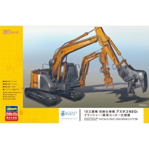 Hasegawa 1:35 Hitachi Double Arm Working Machine Astaco NEO Crusher/Cutter Model Kit