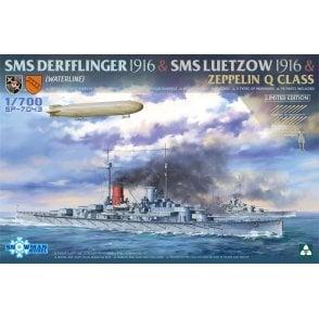 Takom 1:700 Derfflinger + Luetzow + Zeppelin Q Class Set Model Ship Kit
