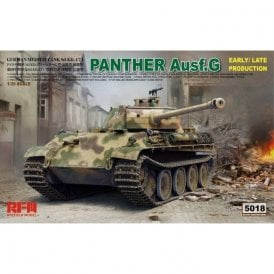 Rye Field Model 1:35 Panther Ausf.G with workable track links & a canvas cover of muzzle brake part Military Model Kit