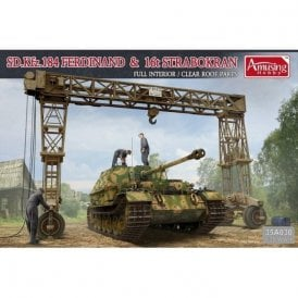 Amusing Hobby 1:35 SD.Kfz184 Ferdinand & 16t STRABOKRAN Military Model Kit