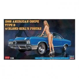 Hasegawa 1:24 1966 American Coupe Type B with Blond Girl Figure Car Model Kit