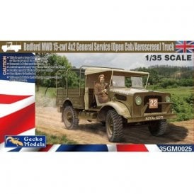 Gecko Models 1:35  Bedford MWD 15-cwt 4x2 GS Truck (Open Cab/Aeroscreen) Military Model Kit