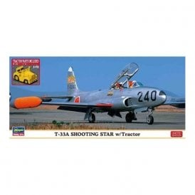 Hasegawa 1:72 T-33A Shooting Star With Tow Tractor Aircraft Model Kit