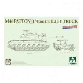 Takom 1:35 M46 Patton US Medium Tank + ¼ton Utility Truck Model Military Kit