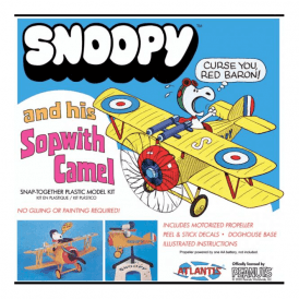 Atlantis Models Snoopy and his Sopwith Camel Plane SNAP Kit Model Kit